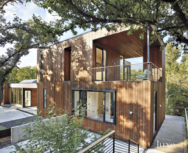 Modern Cedar-Sided Covered Deck