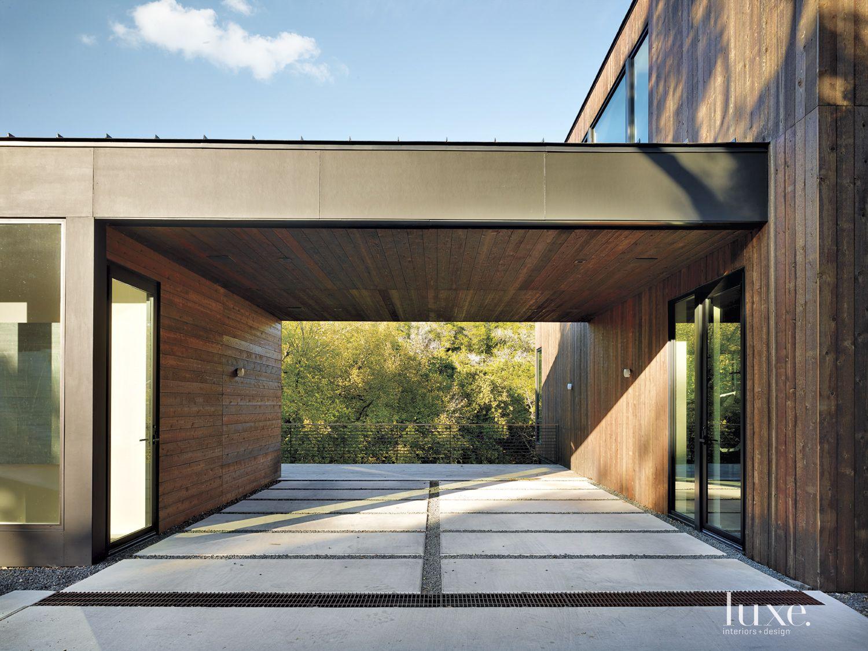 Modern Cedar-Sided Carport Canopy