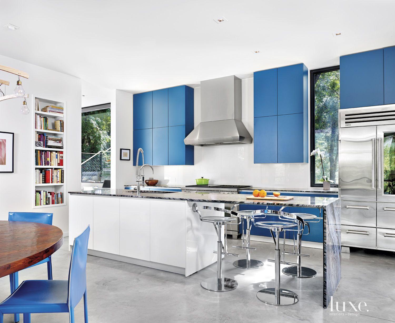 Modern Blue-Accented Kitchen