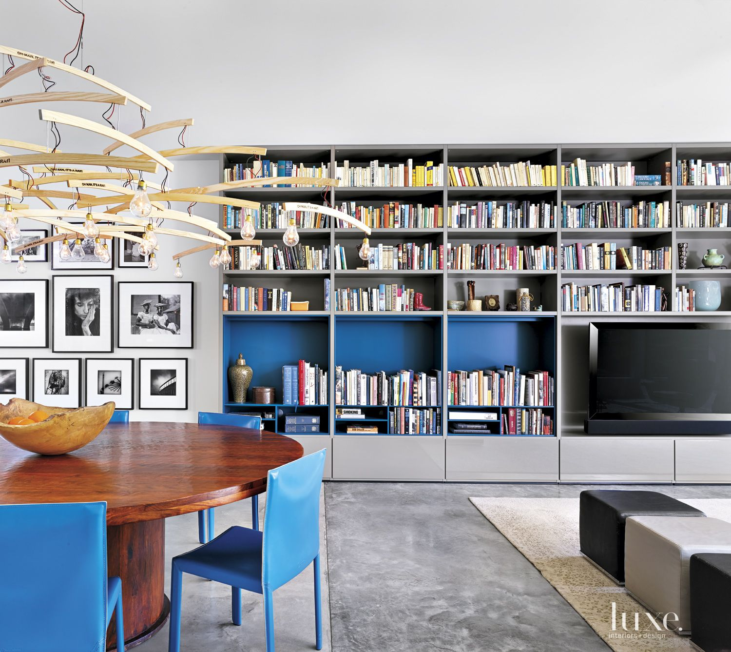 Modern Blue-Accented Dining Room