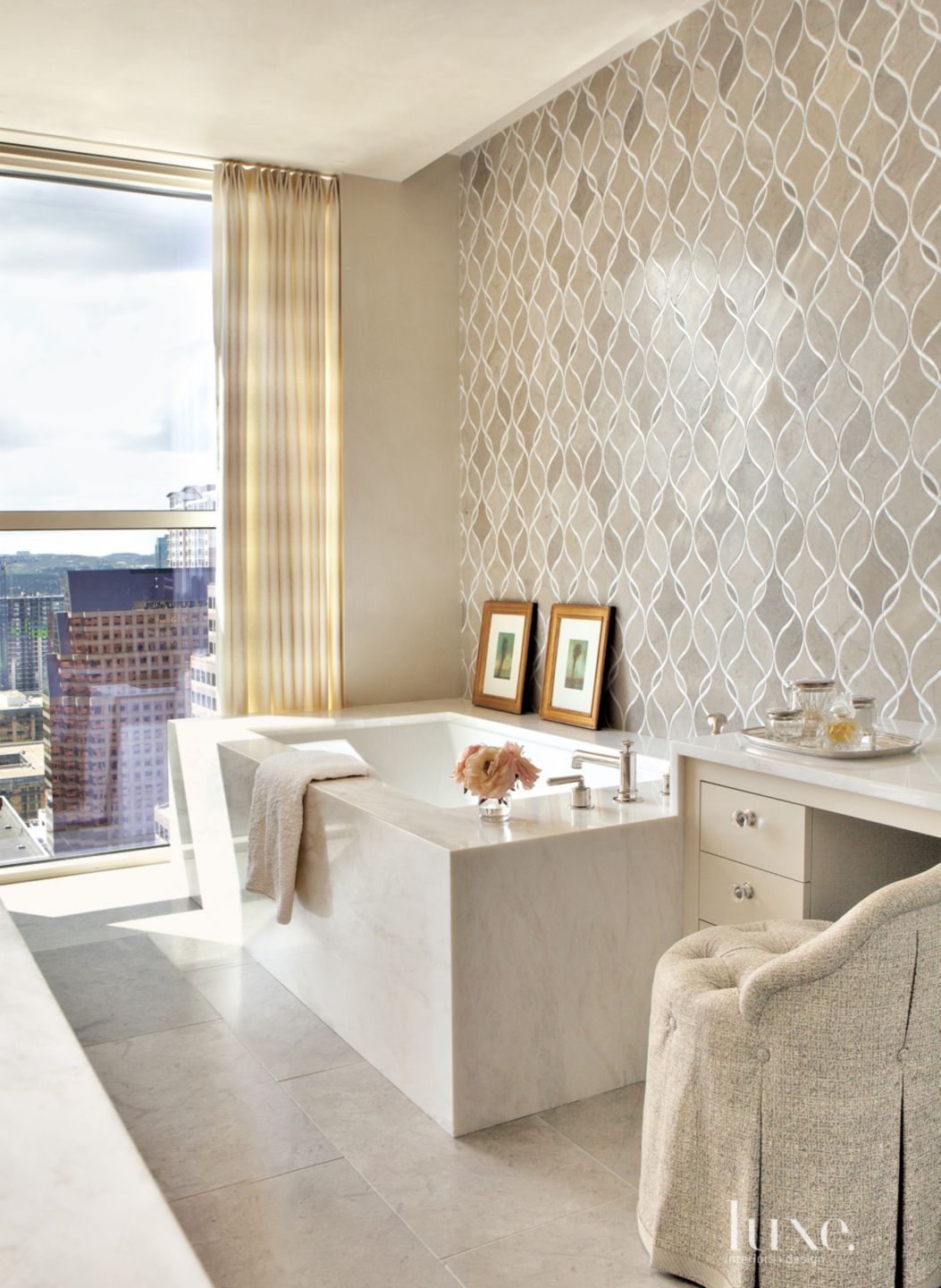 Contemporary Neutral Bathroom with Vanity Stool
