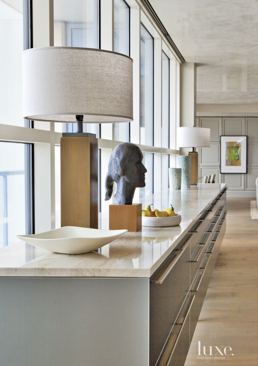 Contemporary Neutral Kitchen with Head Statue