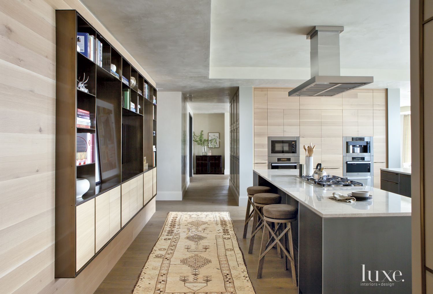 Contemporary Neutral Kitchen with Vintage Runner