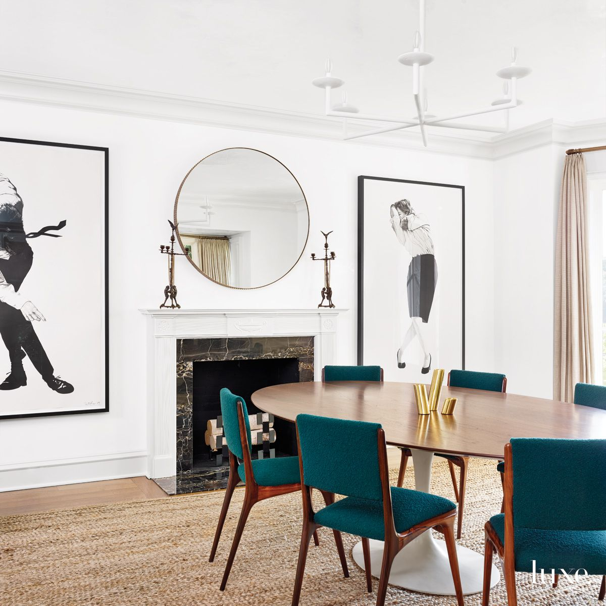 Modern White Dining Room with Vintage Teal Chairs