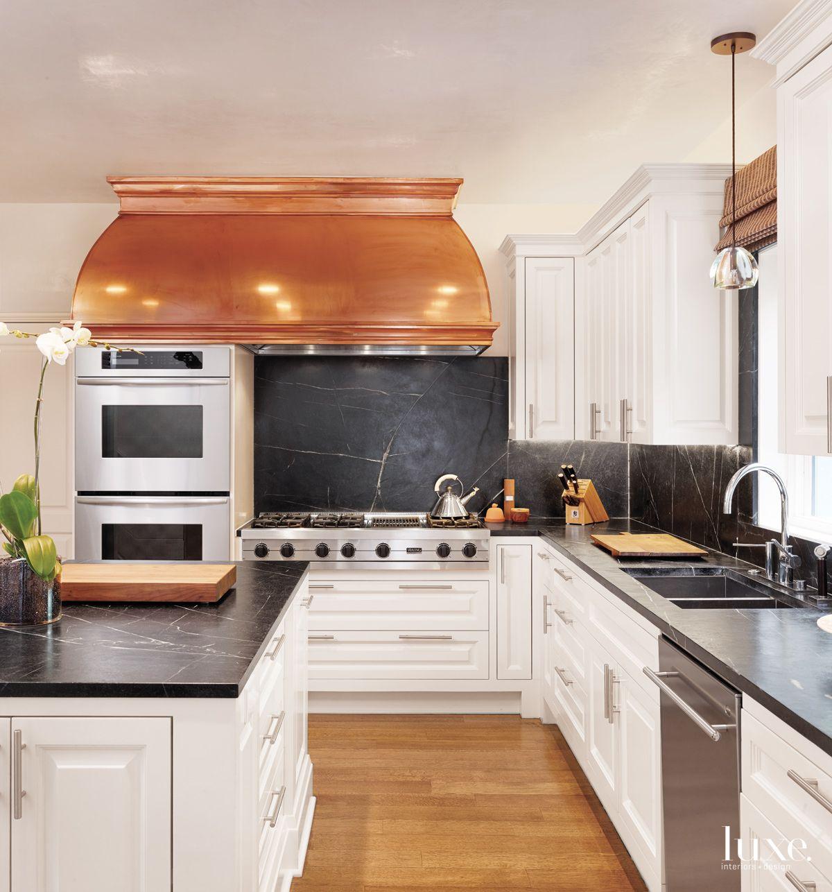 Modern White Kitchen with Soapstone Backsplash