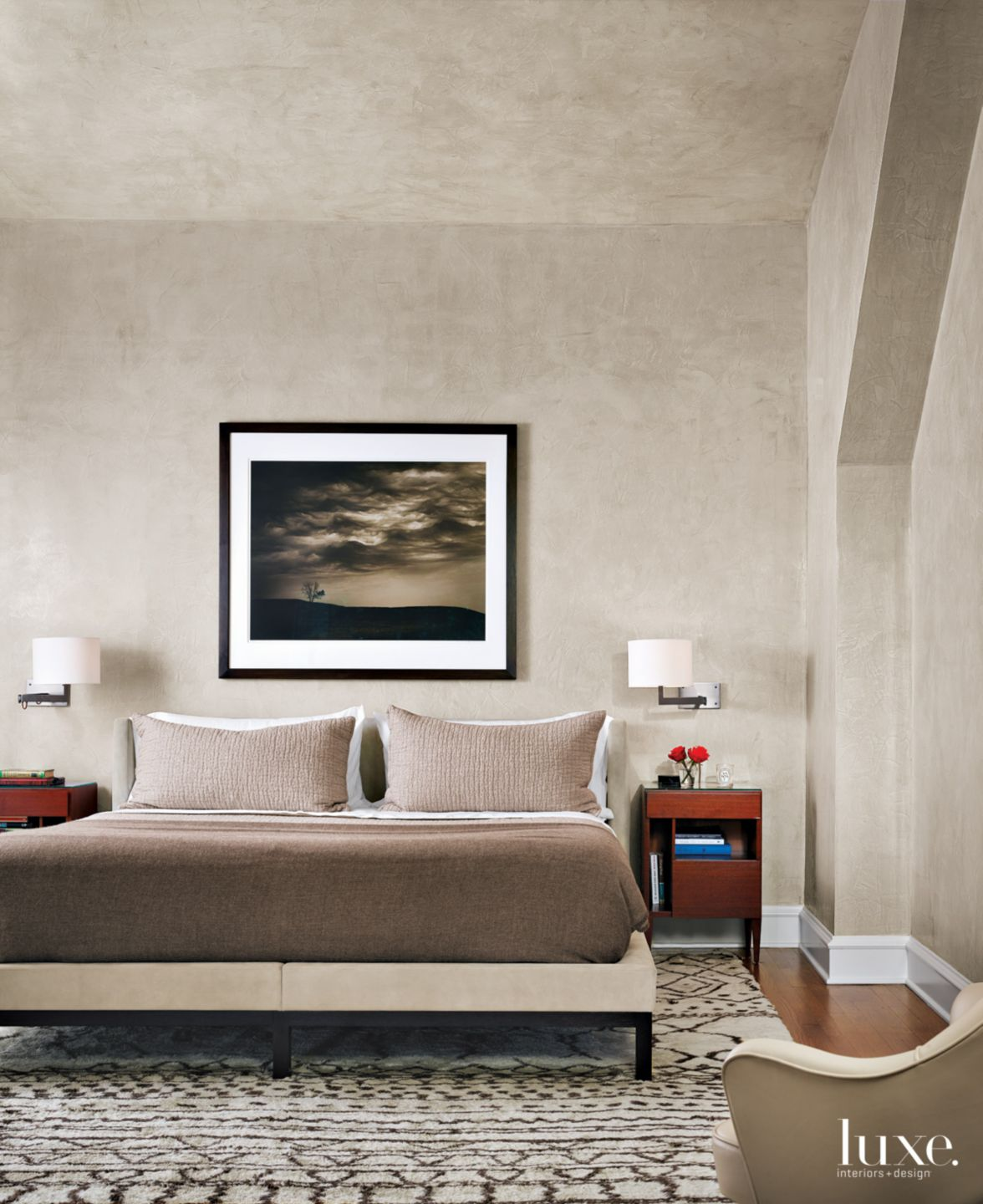 Modern Neutral Bedroom with Pewter Plaster Walls