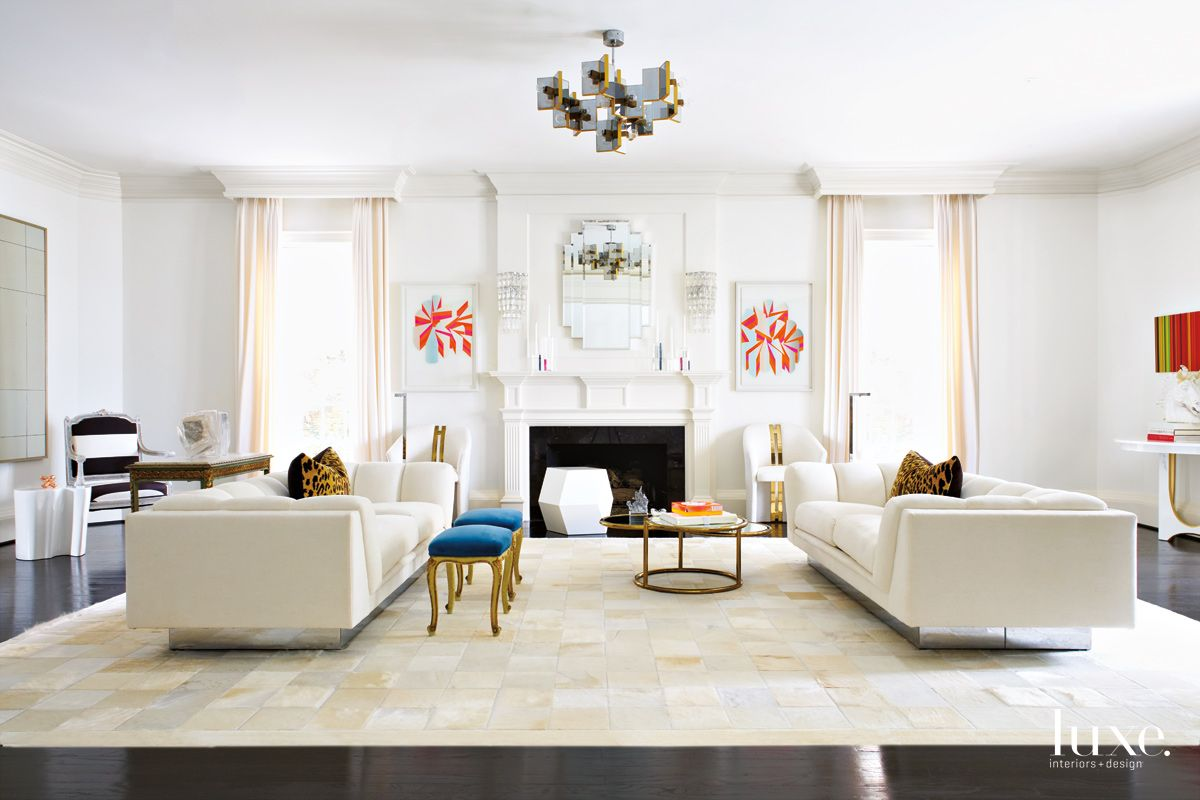 Modern White Living Room with Sculptural Furnishings