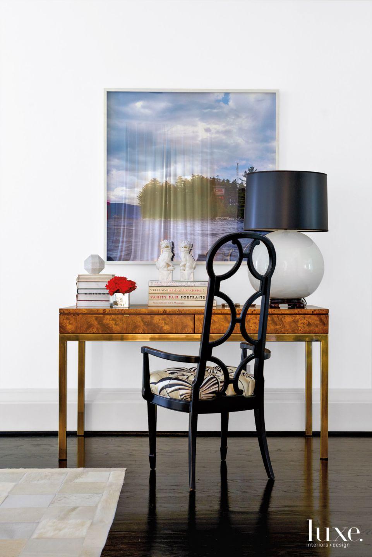 Modern White Living Room Vignette with Midcentury Desk
