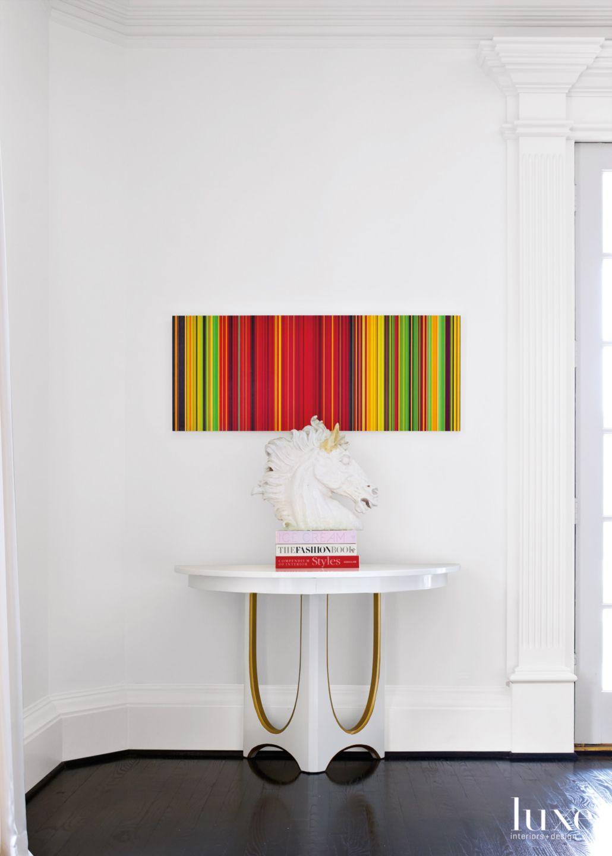 Modern White Living Room Vignette with Horse Sculpture