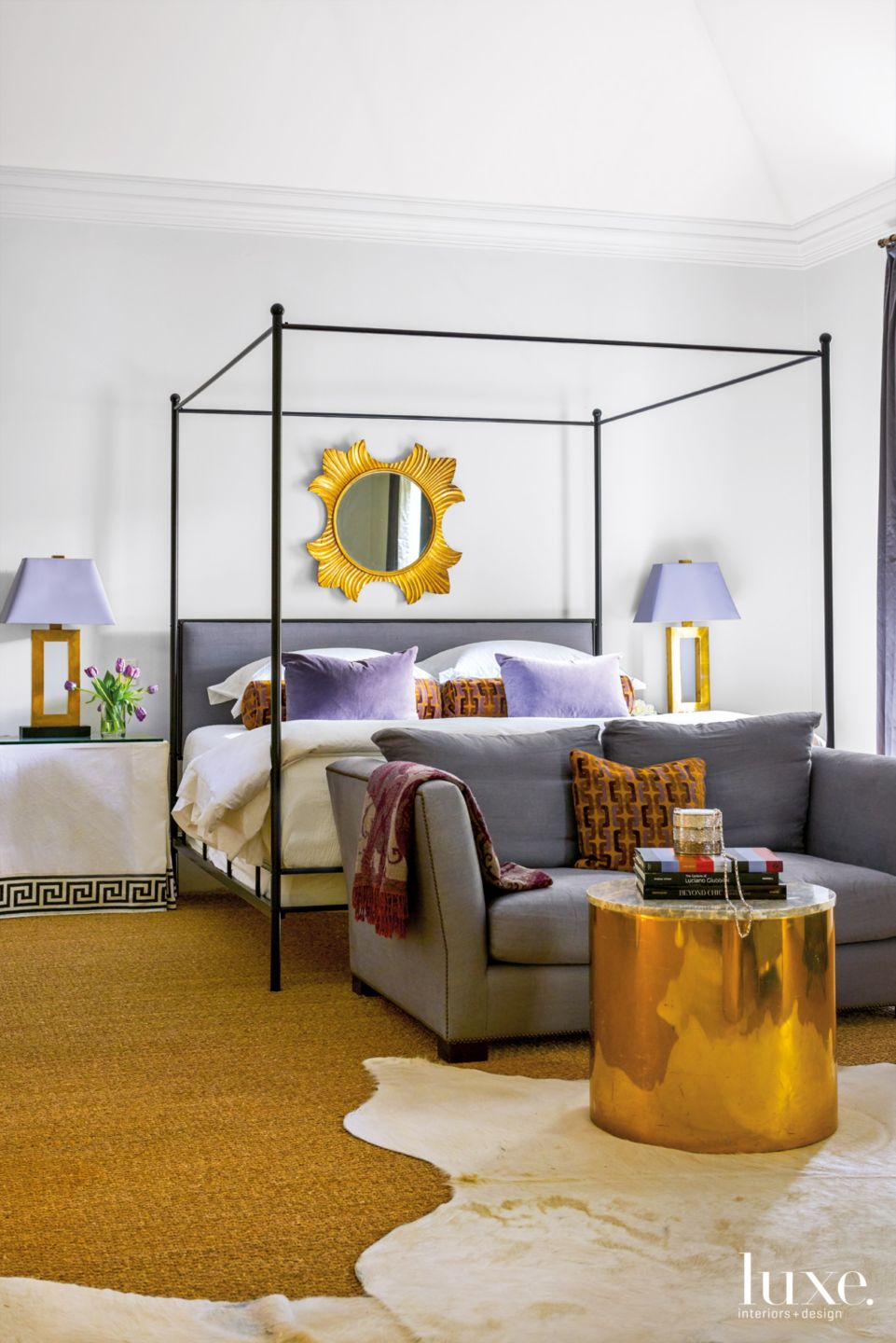 Modern White Bedroom with Antinque Gold Wooden Mirror
