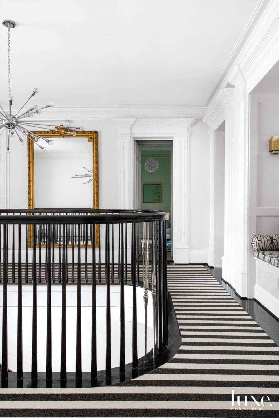 Modern White Hallway with Striped Floorcovering