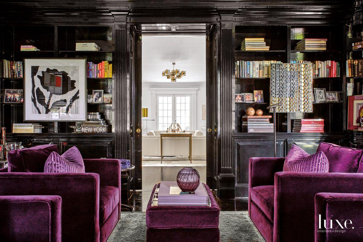 Modern Black Study with Purple Velvet Armchairs