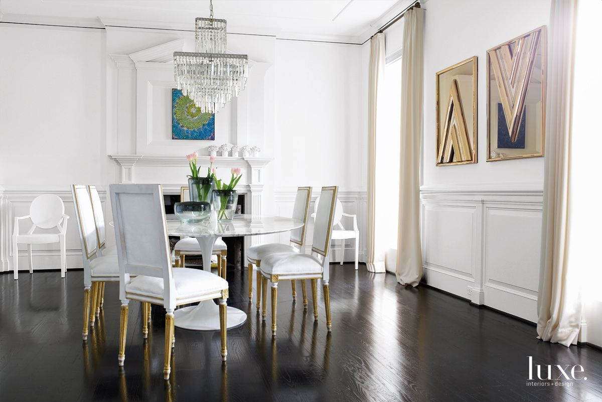 Modern White Dining Room with White Suede Chairs