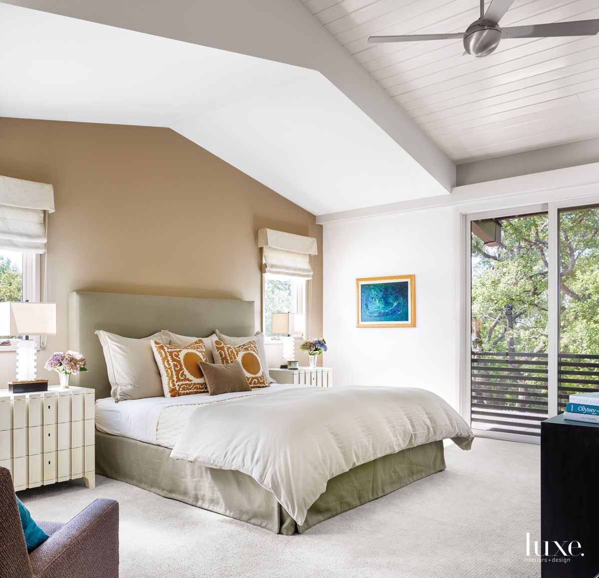 Contemporary White Master Bedroom with Custom Headboard