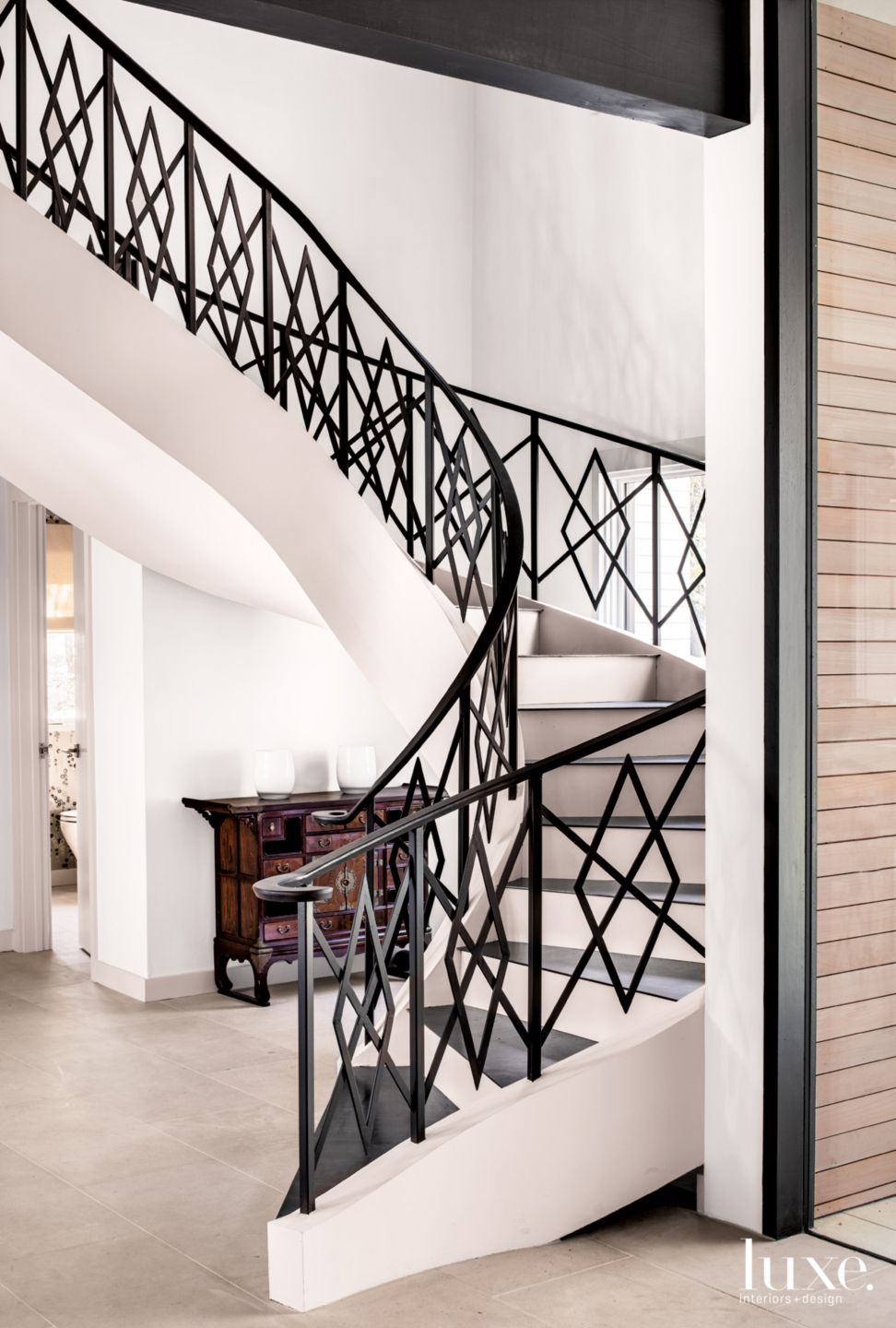 Contemporary Cream Stairway with Steel-Plate Treads
