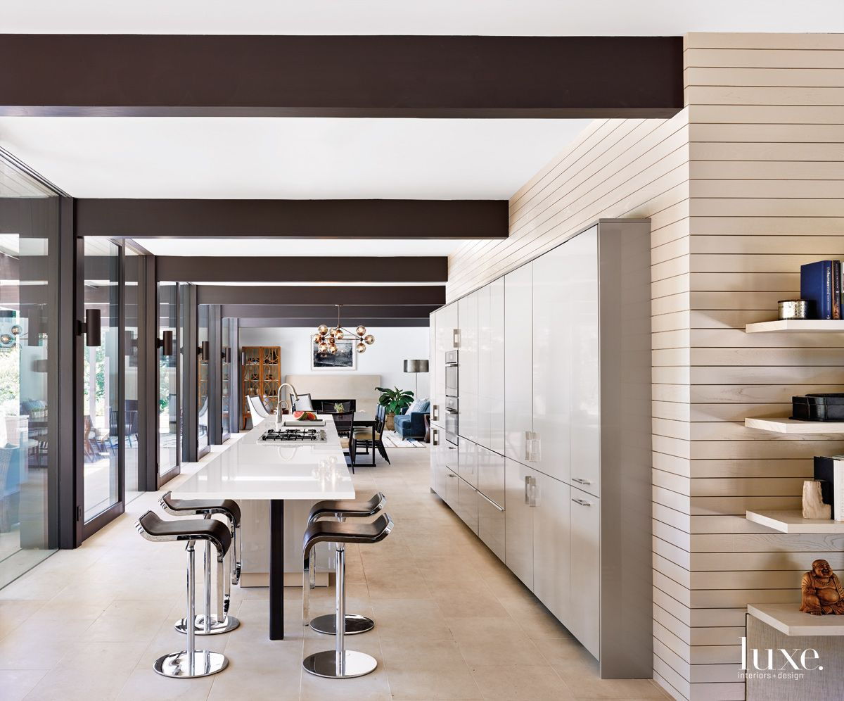 Contemporary Cream Kitchen with Shiplap-Paneled Walls