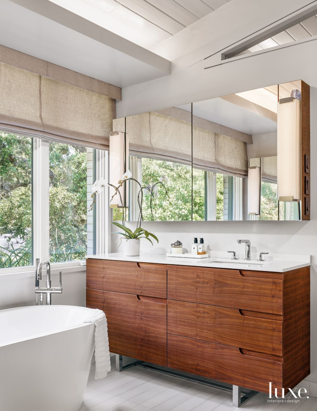 Contemporary White Bathroom With Walnut Vanity Luxe Interiors Design