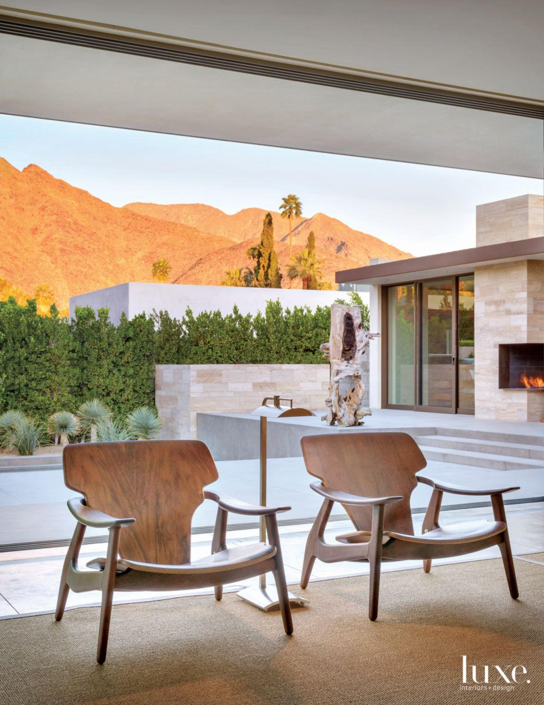 Modern Neutral Living Area with Midcentury Chairs