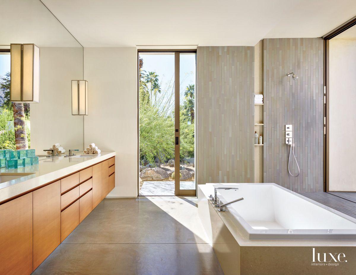 Modern Neutral Master Bathroom with Versailles tub