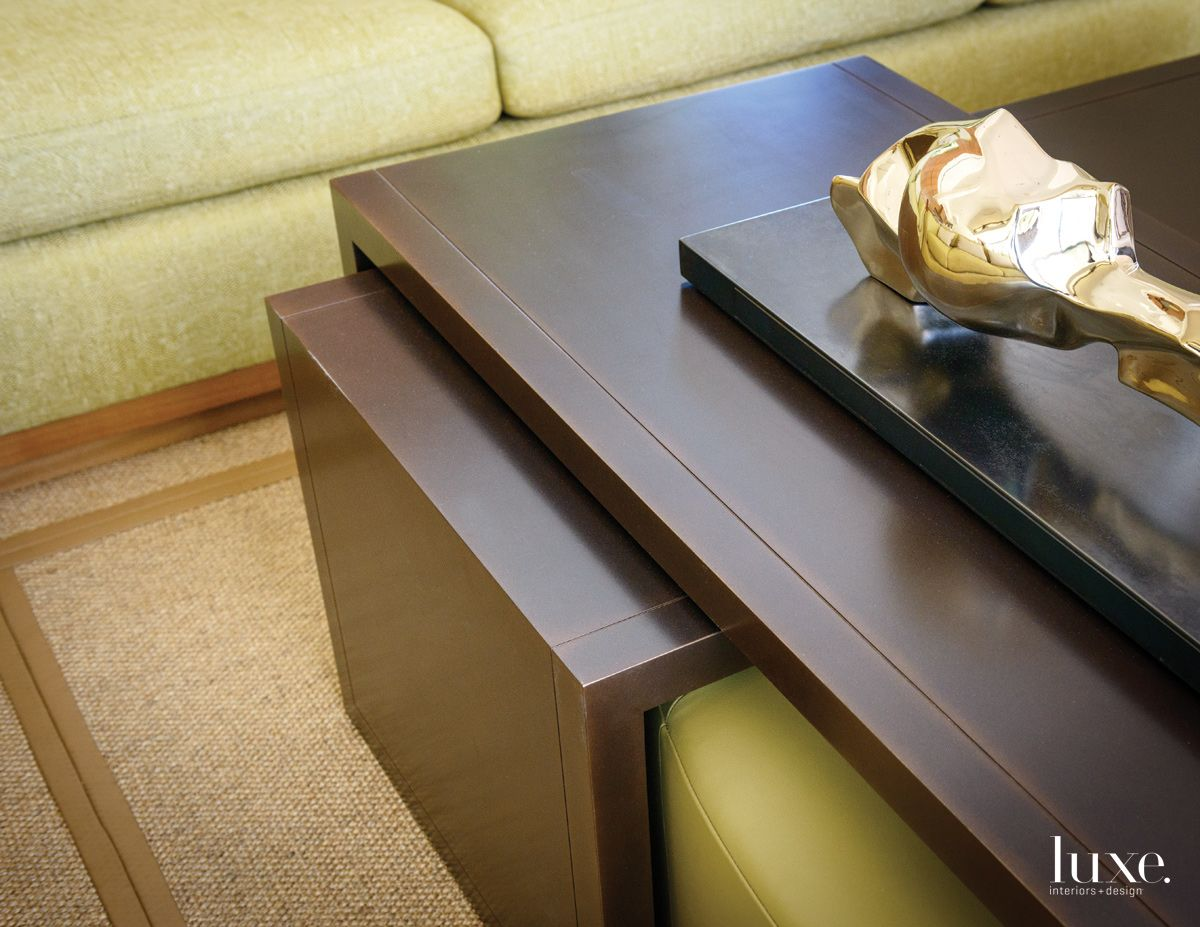 Modern Wood Coffee Table with Bronze Finish