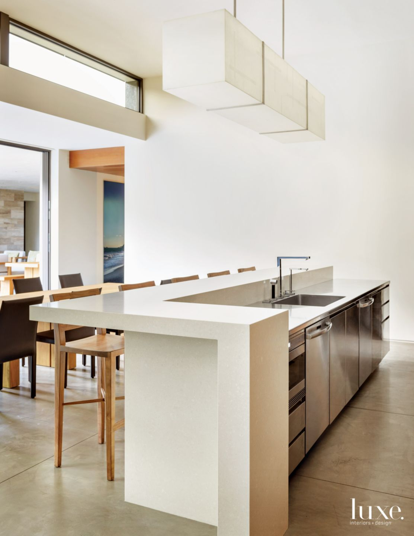 Modern White Kitchen with Industrial Influences