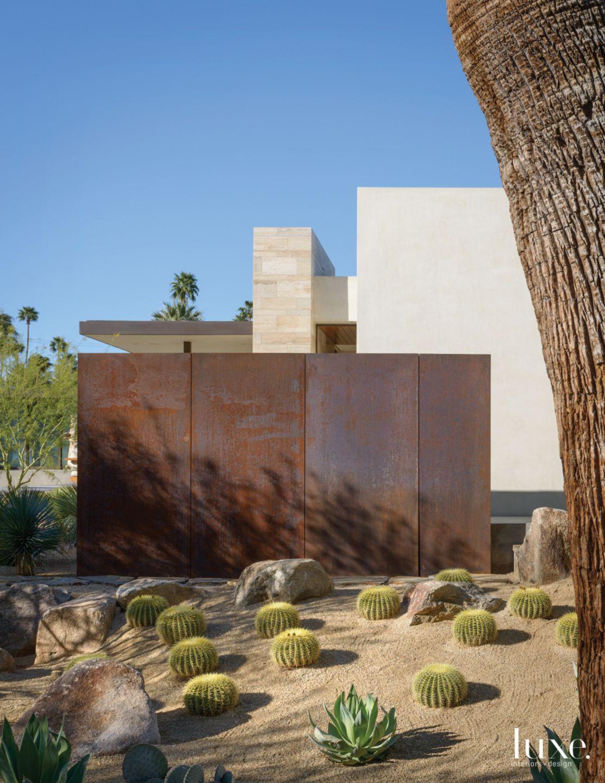 Modern Steel Exterior Wall with Desert Landscape