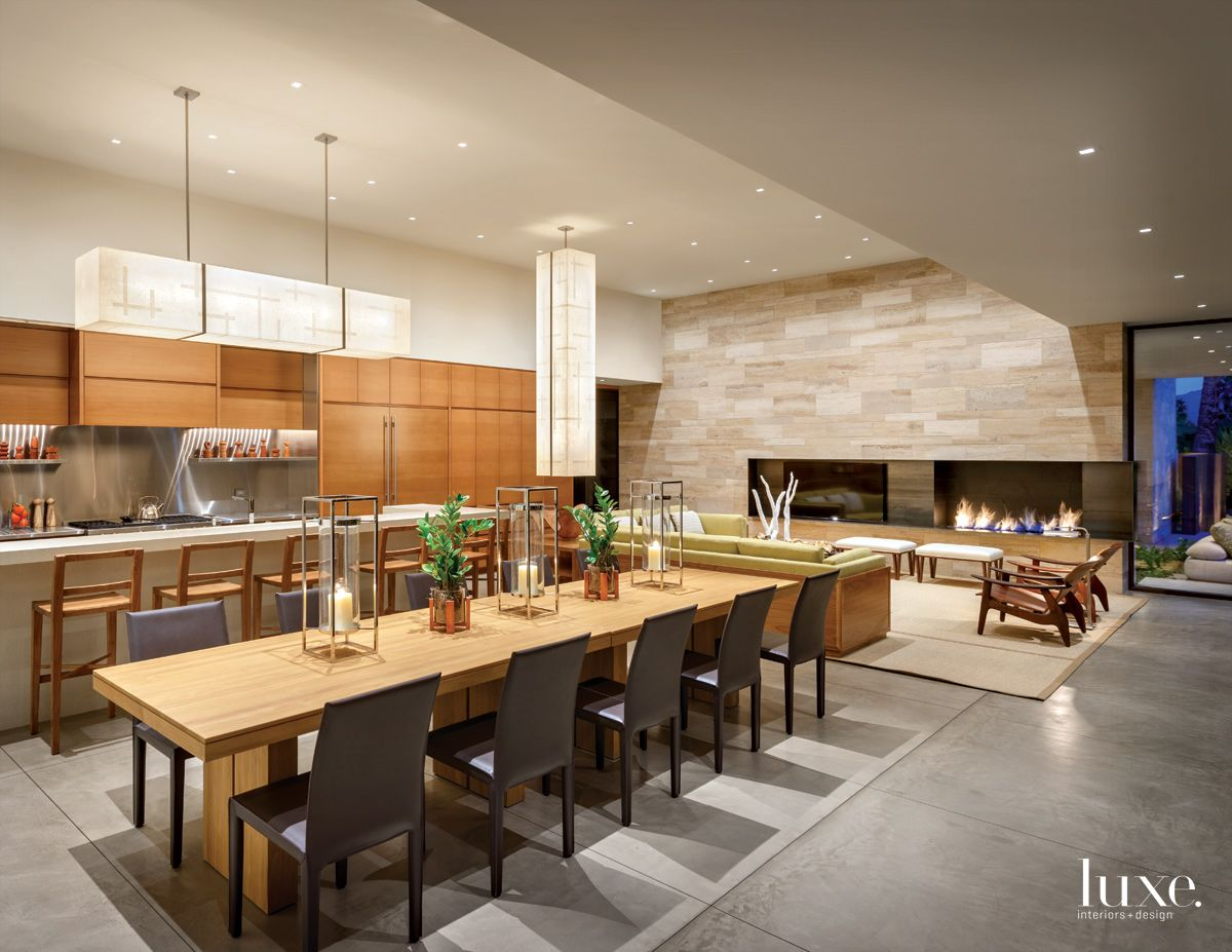 Modern Neutral Kitchen Dining Area with Fir Cabinetry