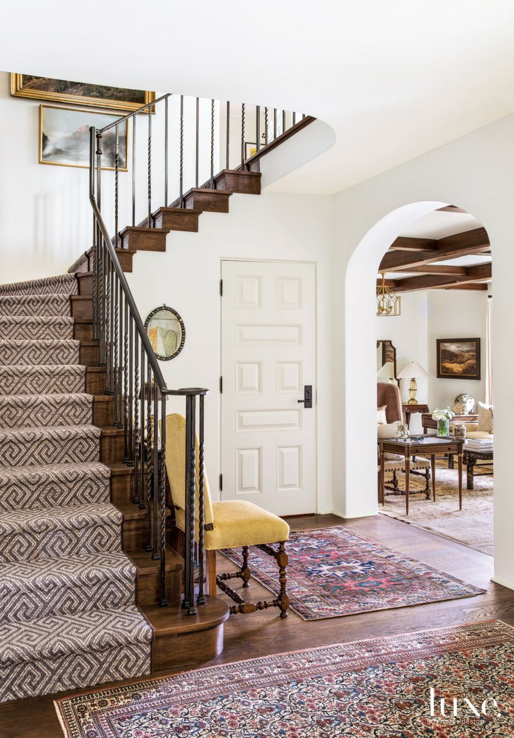 Traditional White Entry Hall with Greek-Key Pattern Stair Runner