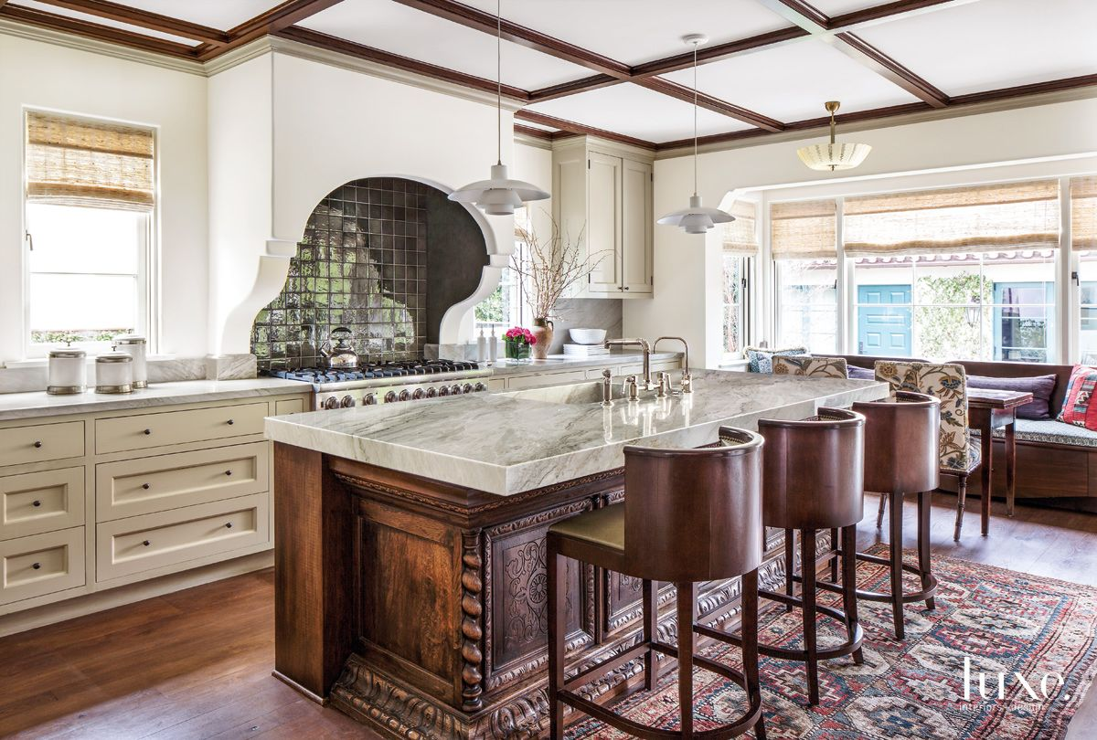 Traditional Cream Kitchen with Vintage Cabinet Island