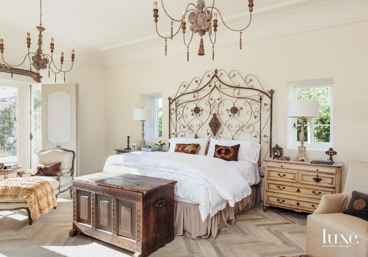 Traditional Cream Bedroom with Iron Gate Headboard