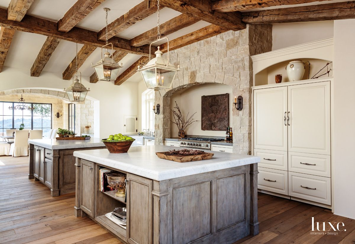 Traditional Cream Kitchen with Antique Fireback