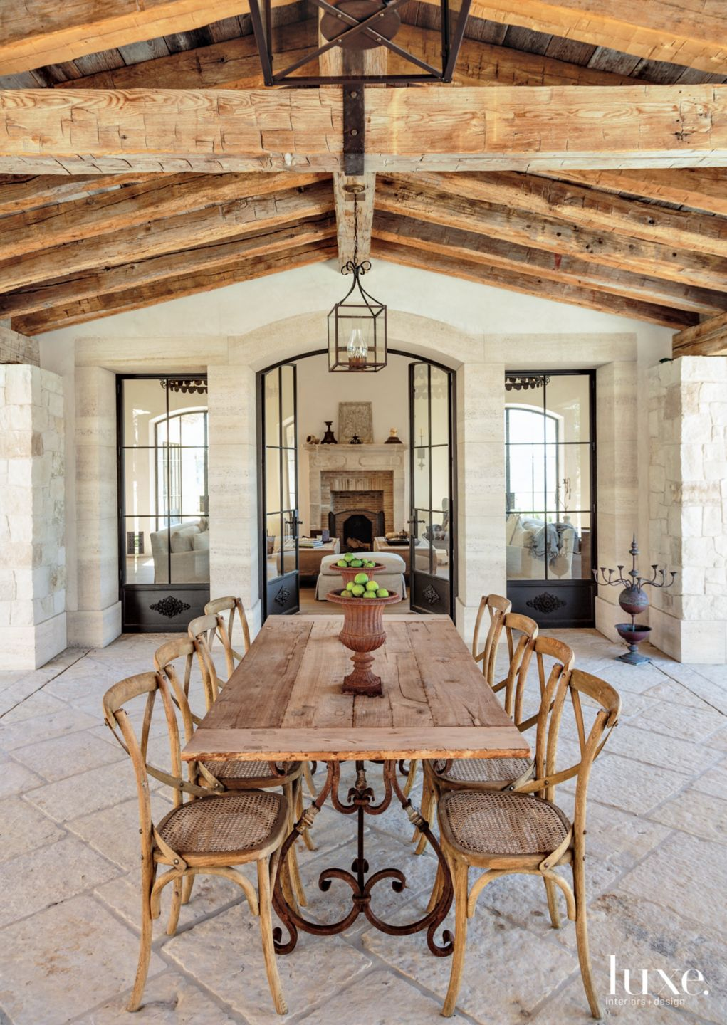 Traditional Neutral Covered Outdoor Dining Room with Exposed Wood Beams
