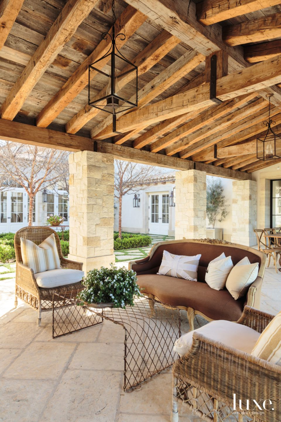 Traditional Neutral Outdoor Seating Area with Courtyard Views