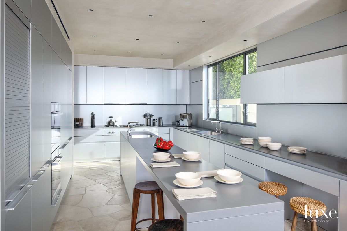 Contemporary Silver Kitchen with Woven Stools
