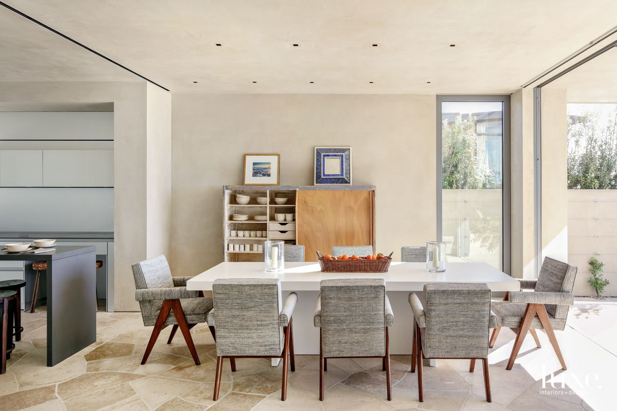 Contemporary Neutral Dining Room with Original 20th-Century Artwork