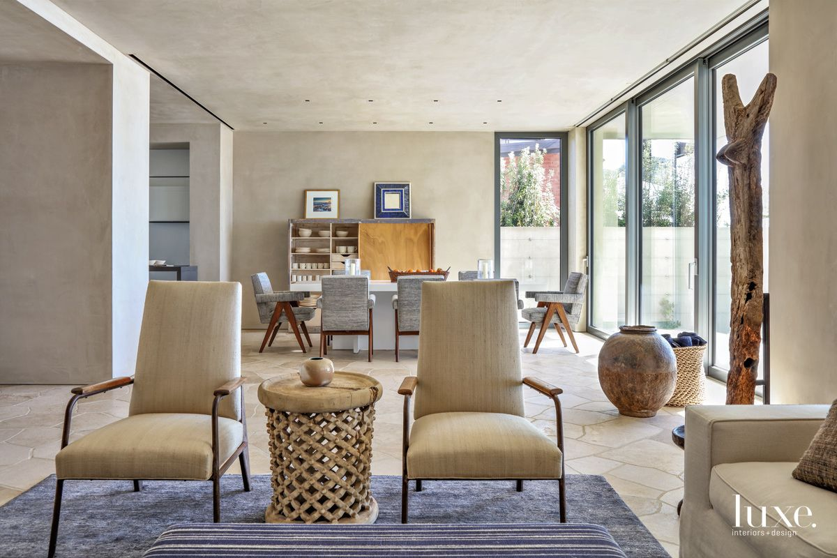 Contemporary Neutral Family Room Vignette with Woven-Wood Occasional Table