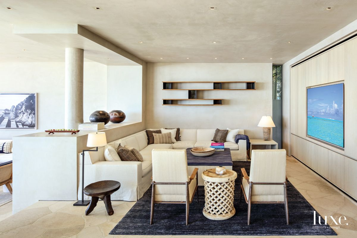 Contemporary Neutral Family Room with Built-In Television