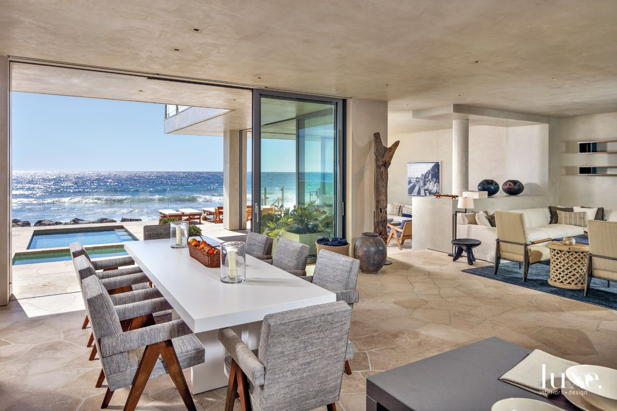 Contemporary Neutral Dining Area with Pacific Ocean Views