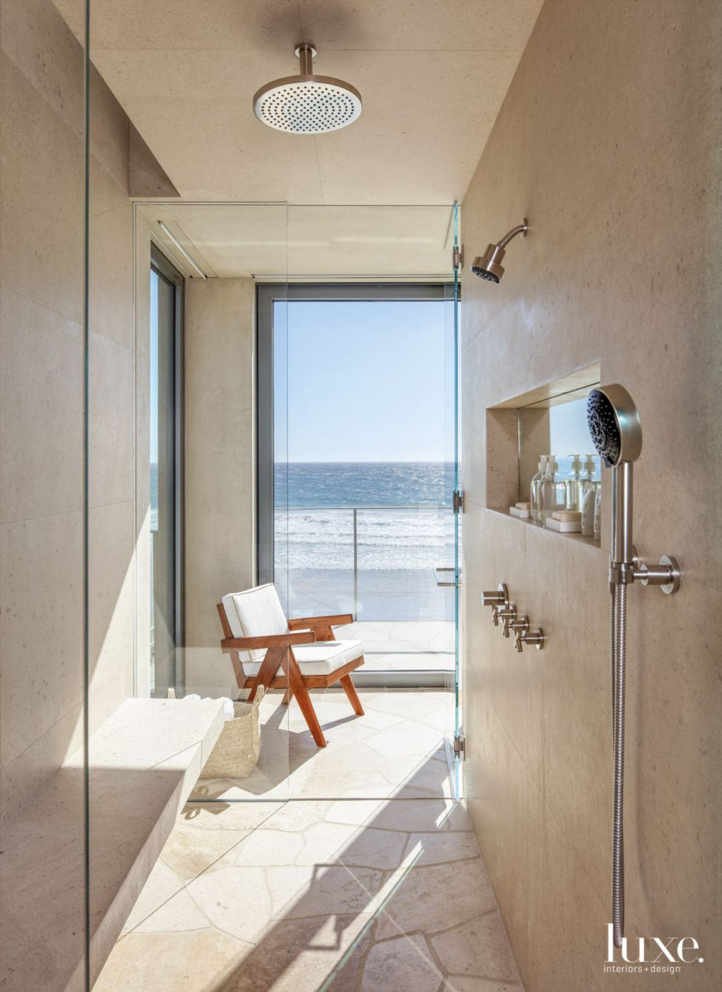 Contemporary Neutral Bathroom with  Limestone Shower Walls