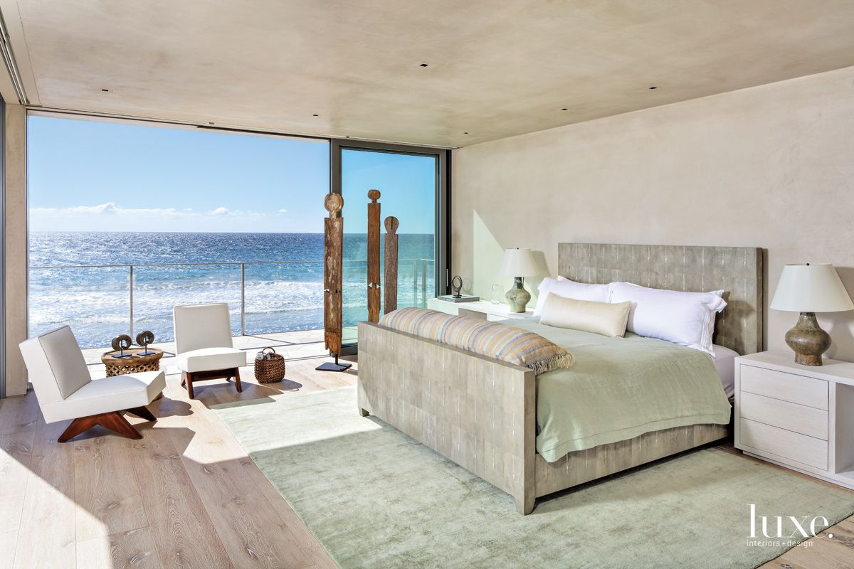 Contemporary Neutral Bedroom with Oceanfront Balcony