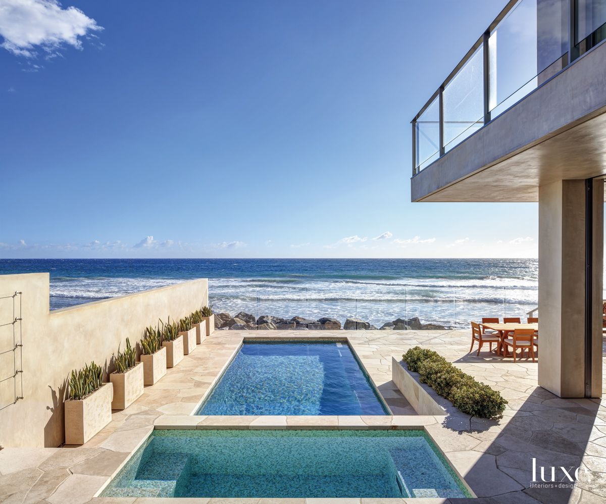 Contemporary Neutral Pool Terrace with Oceanfront Views