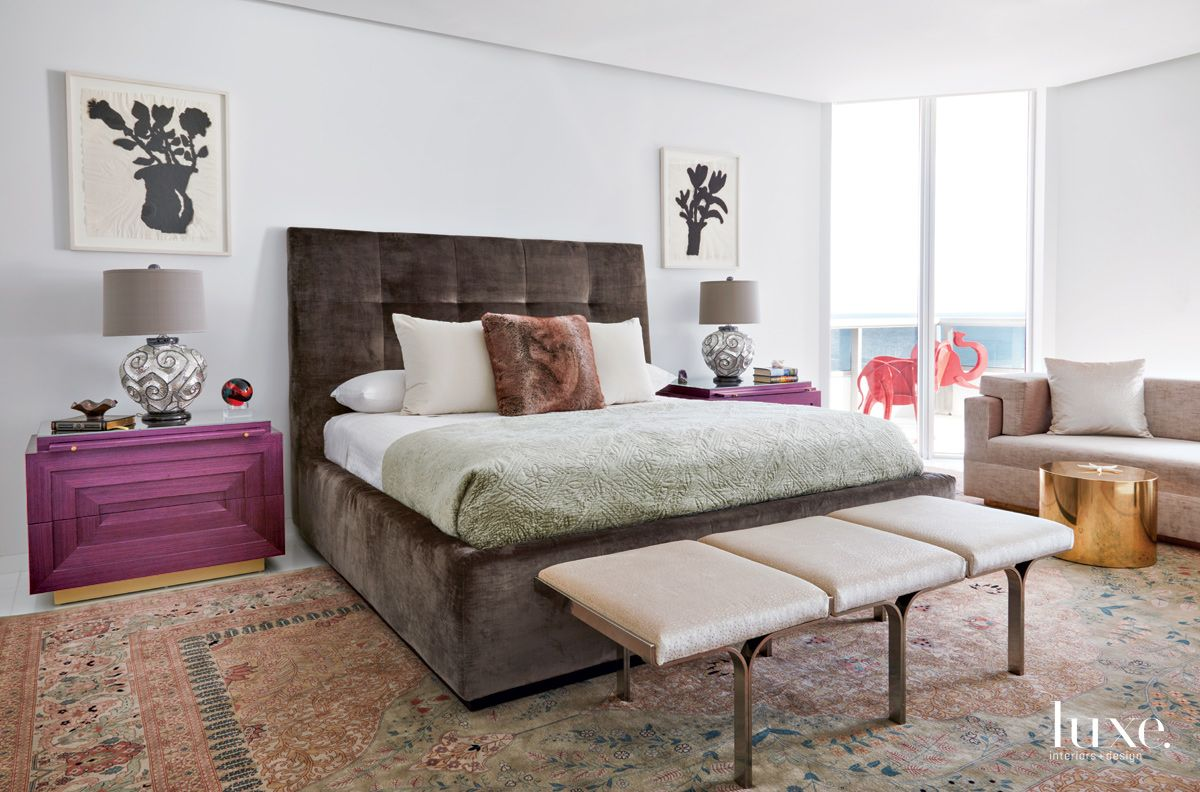 Contemporary White Bedroom with Fuchsia Bedside Table