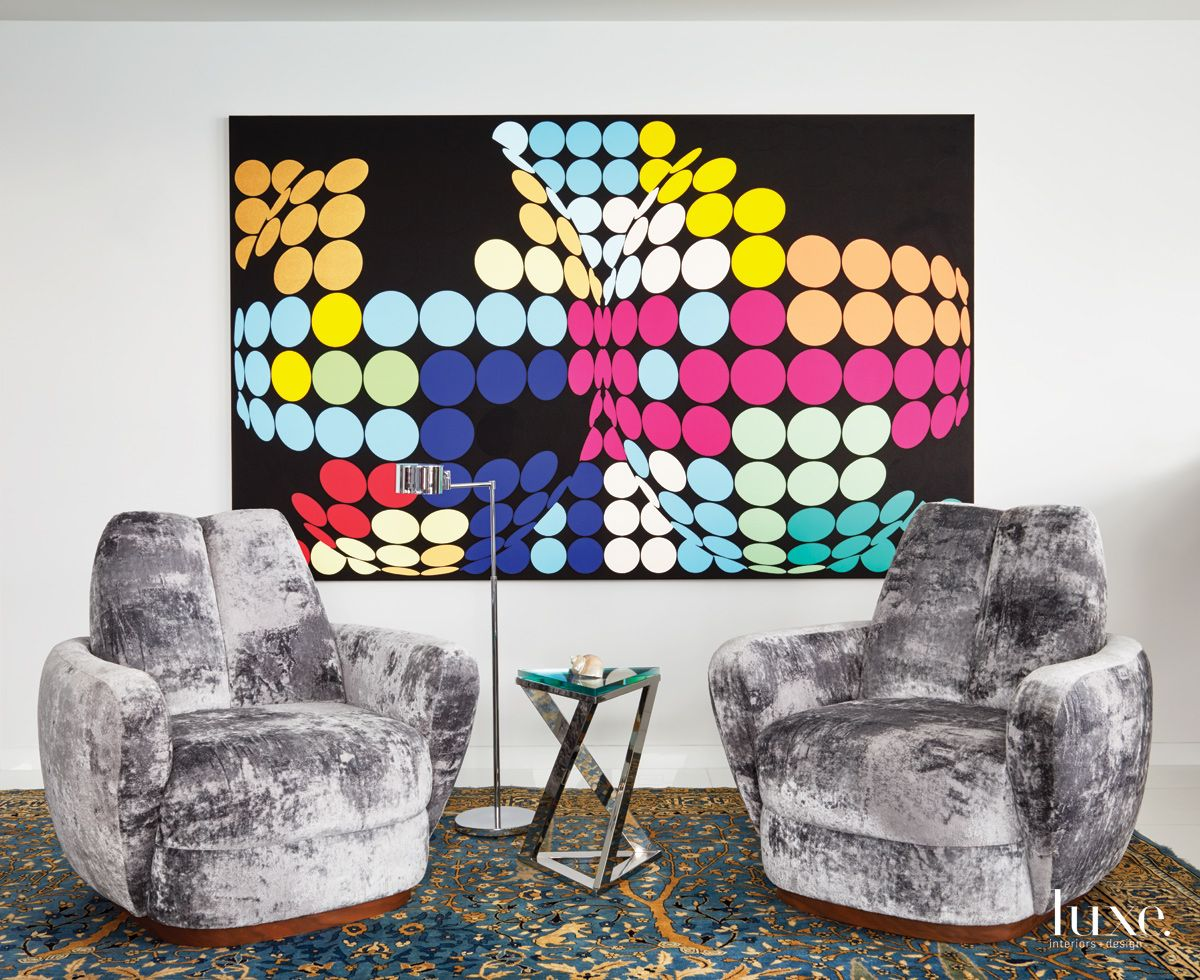 Contemporary White Seating Area with Psychedelic Art
