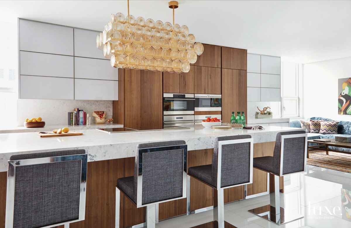 Contemporary Neutral Kitchen with Vintage Murano Chandelier