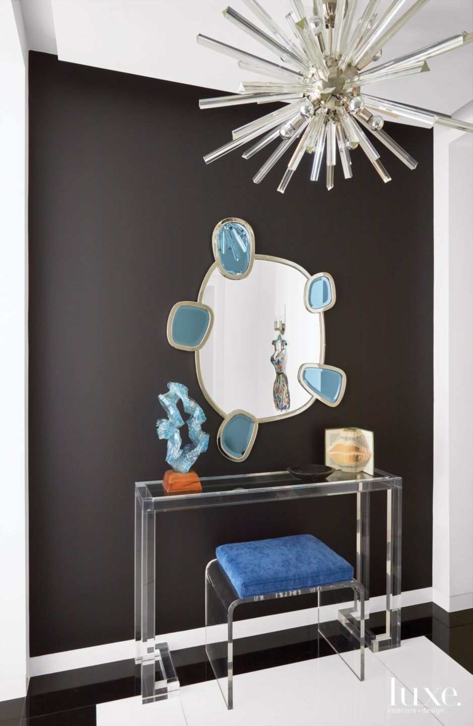 Contemporary Black Foyer with Six-Pane Mirror