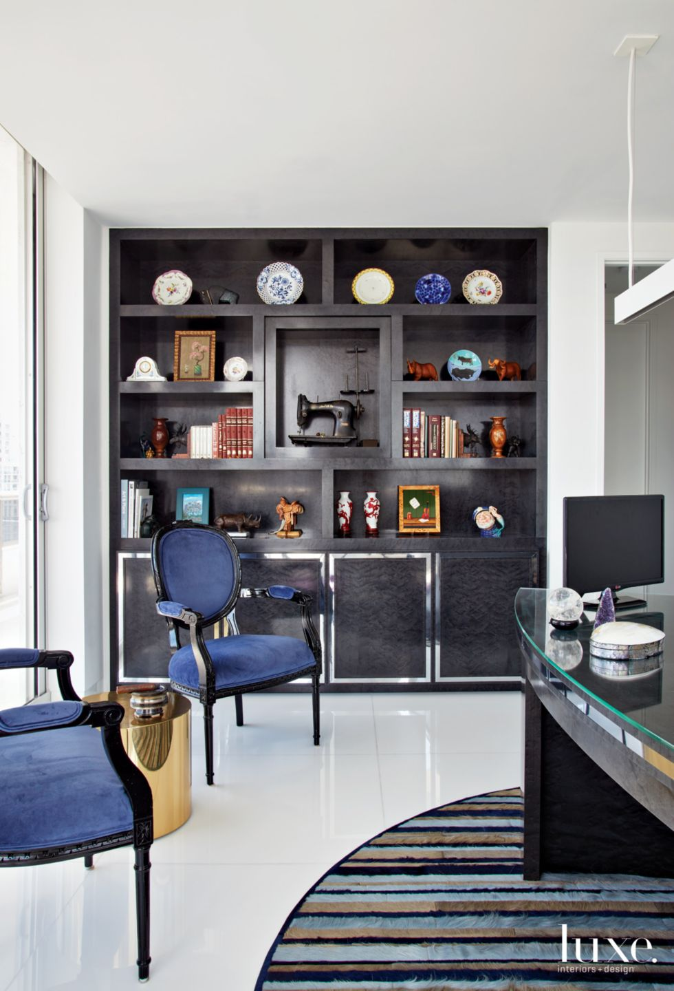 Contemporary White Office with Curved Desk