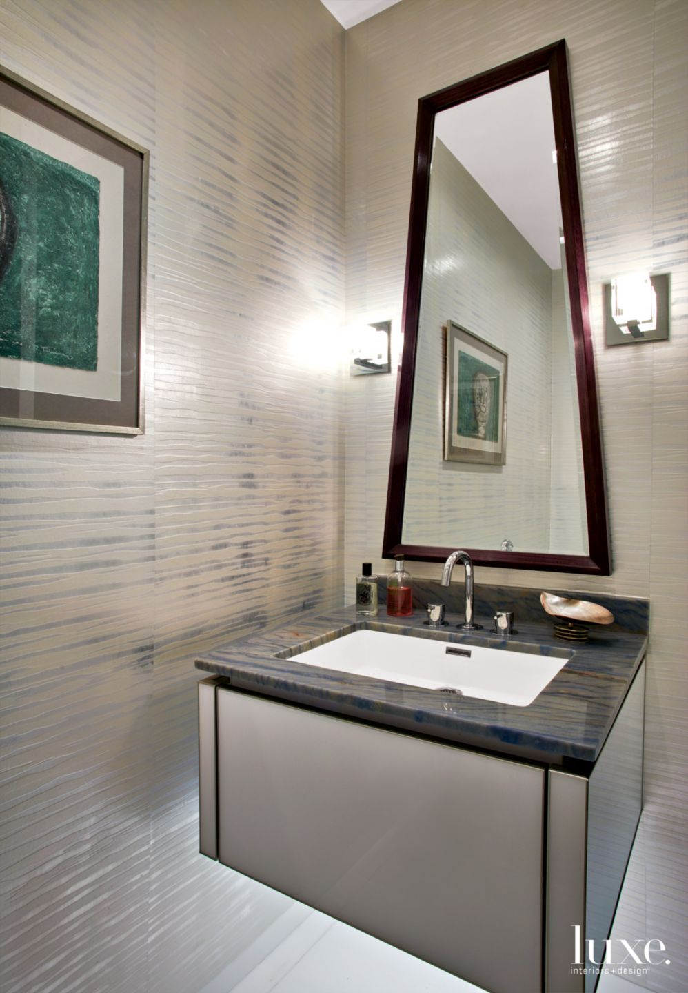 Contemporary Silver Bathroom with Custom-Shaped Mirror