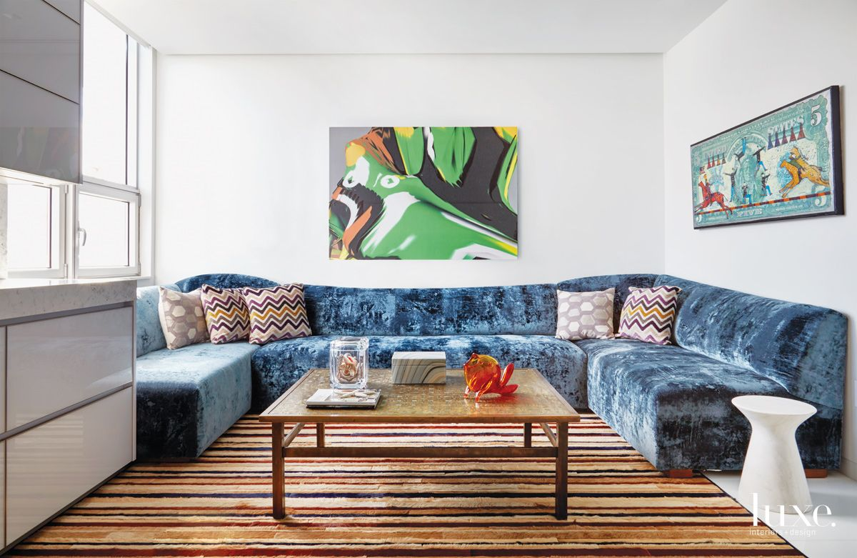 Contemporary White Media Room with '70s Coffee Table