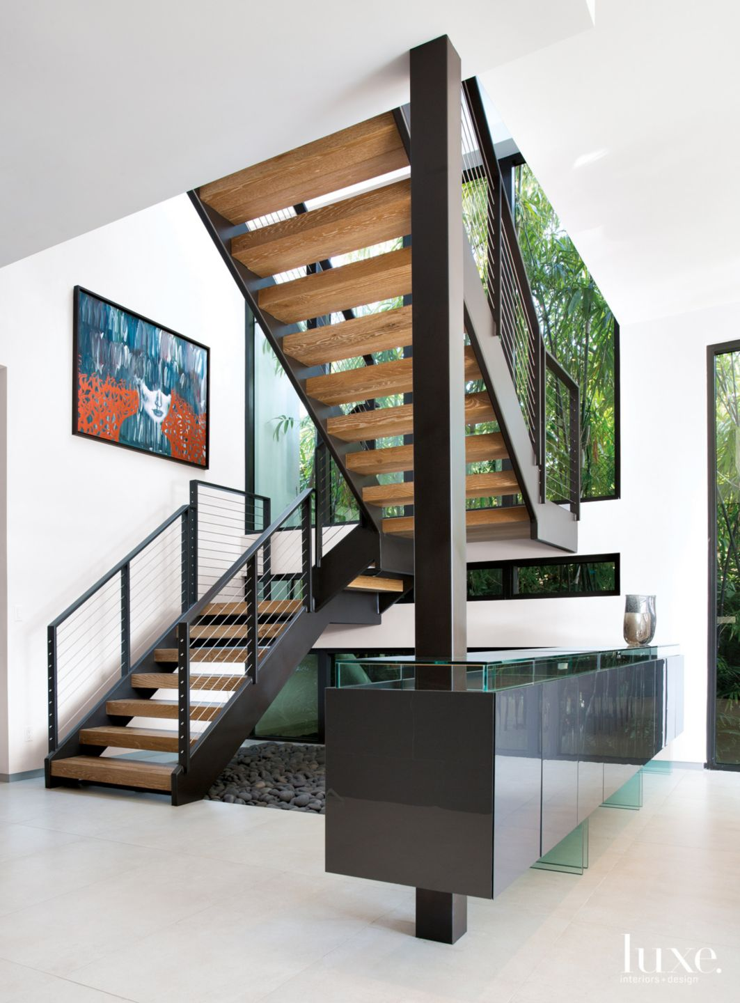Modern Neutral Stairway with Built-In Console