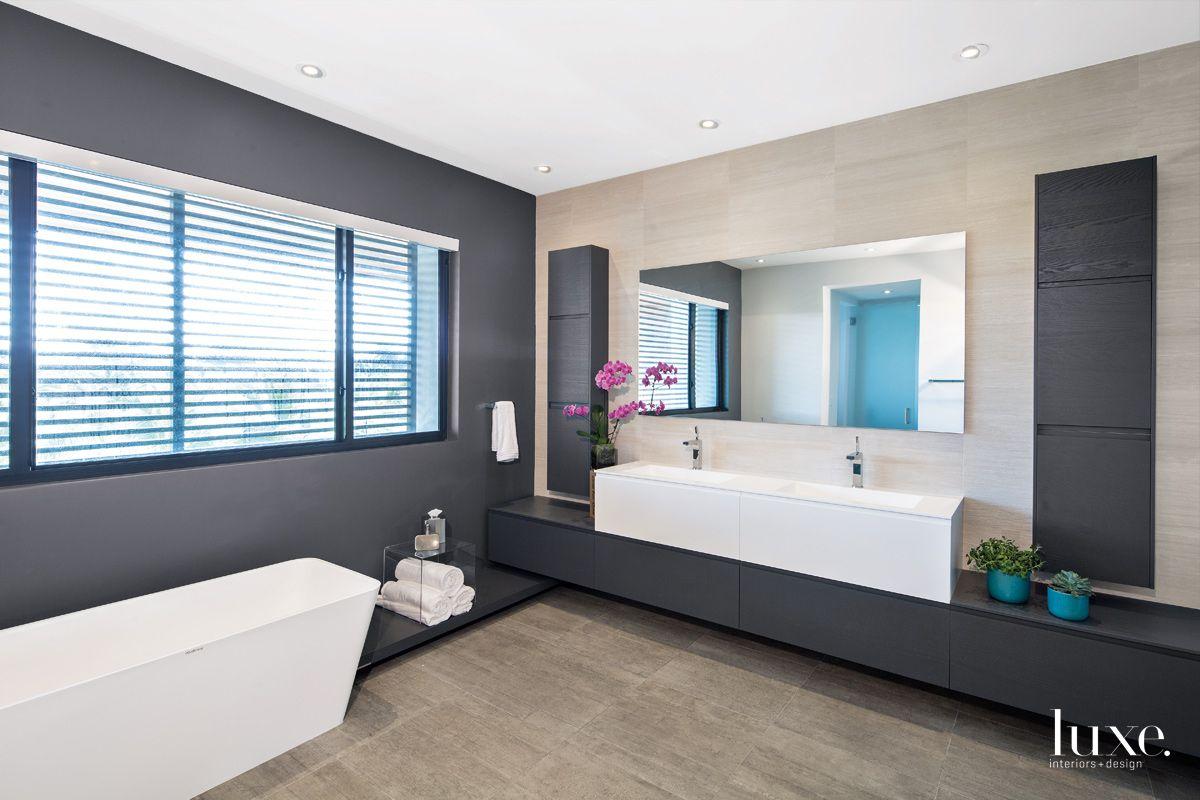 Modern Black Master Bathroom with Walk-In Shower